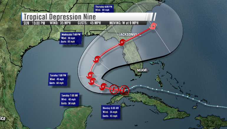 The National Hurricane Center began issuing advisories on tropical depression nine Sunday afternoon (Image: WHNT News 19)