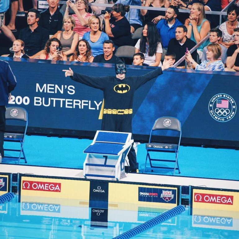 Zach Harting dressed as Batman for one of his entrances in the recent Olympic Trials.
