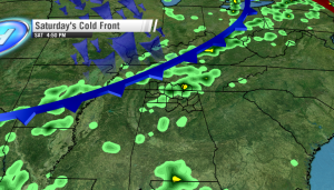 Saturday's cool front raises the chance of showers/storms after 4 PM