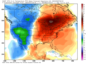 CFSv2 temperature anomaly October 3 to October 8