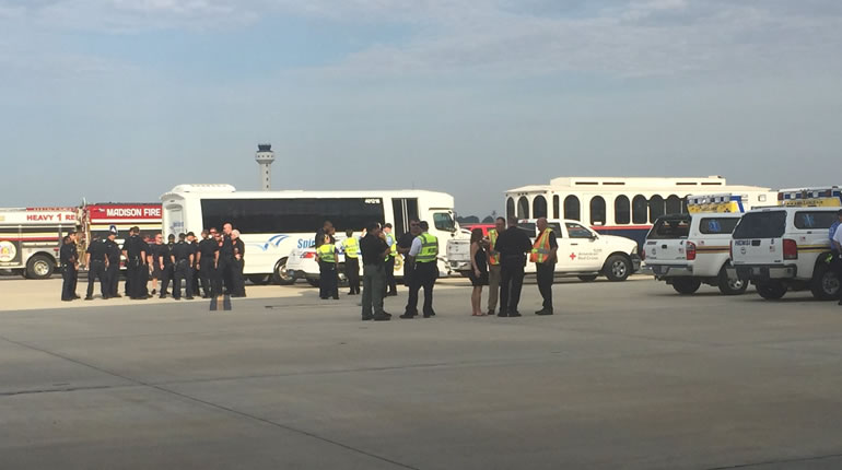 Emergency personnel prepare for a full-scale disaster drill at Huntsville International Airport. (Photo: Alexandra Carter/WHNT News 19)