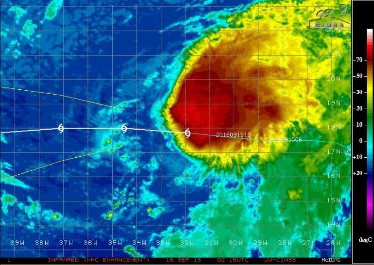 Infrared satellite imagery of Tropical Storm Karl as of September 16, 2016 0215 UTC (September 15, 2016 9:15pm CDT). Image courtesy of the Cooperative Institute for Meteorological Satellite Studies and Engineering Center/University of Wisconsin-Madison)