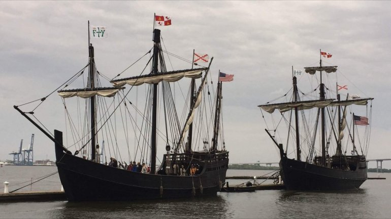The Nina and Pinta Columbus replica ships will be docked at Ditto Landing from September 28 to October 10, 2016.