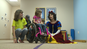 7-year-old Kiersten and her mother talk to Snow White
