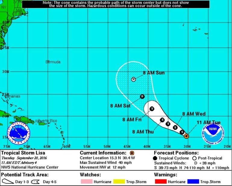Tropical Storm Lisa forecast path (Source: NHC/NOAA)