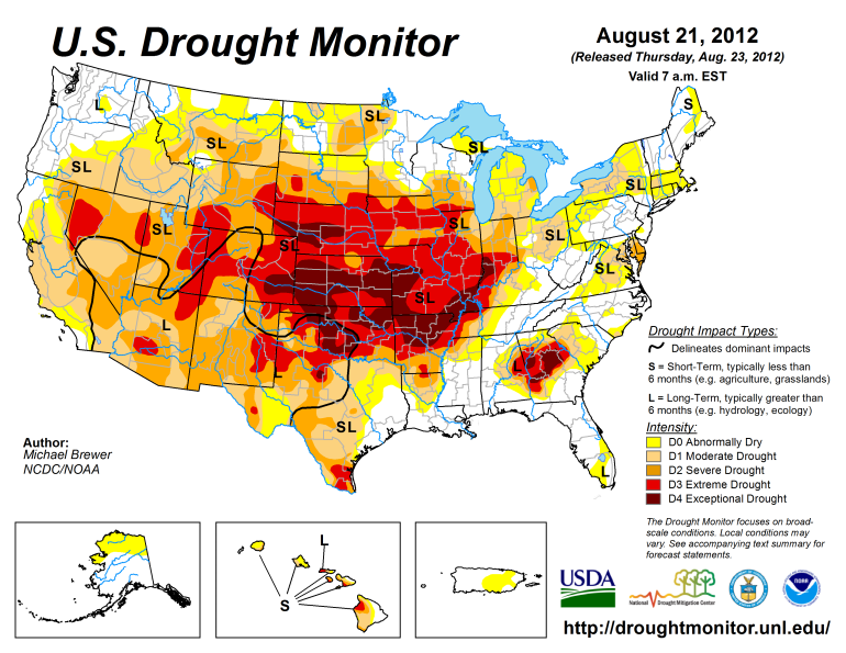The official U.S. Drought Monitor issued on Aug. 21, 2012. The map shows the exceptionally severe drought across the middle of the country. Just three months before, drought forecasts failed to predict that a drought was on the way. Click to enlarge. (Image courtesy National Drought Mitigation Center.)