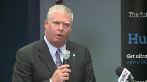 Fred McCallum, President of AT&T Alabama, announces new AT&T Fiber service for eligible customers in Huntsville and Madison on Oct. 11, 2016. (Photo: Shane Hays/WHNT News 19)