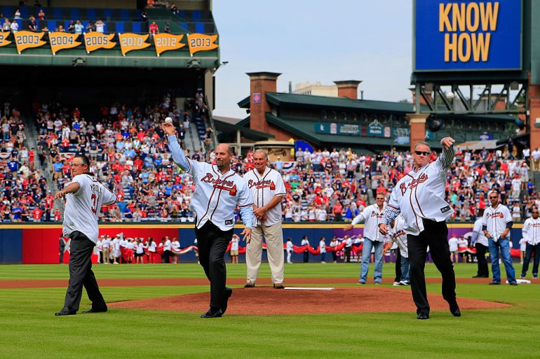 ATLANTA, GA - OCTOBER 02: Former Atlanta Braves players Tom Glavine, John Smoltz, and Greg Maddux throw out the ceremonial first pitch prior to the game at Turner Field on October 2, 2016 in Atlanta, Georgia. (Photo by Daniel Shirey/Getty Images)