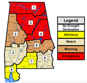Drought Emergency as of October 18, 2016
