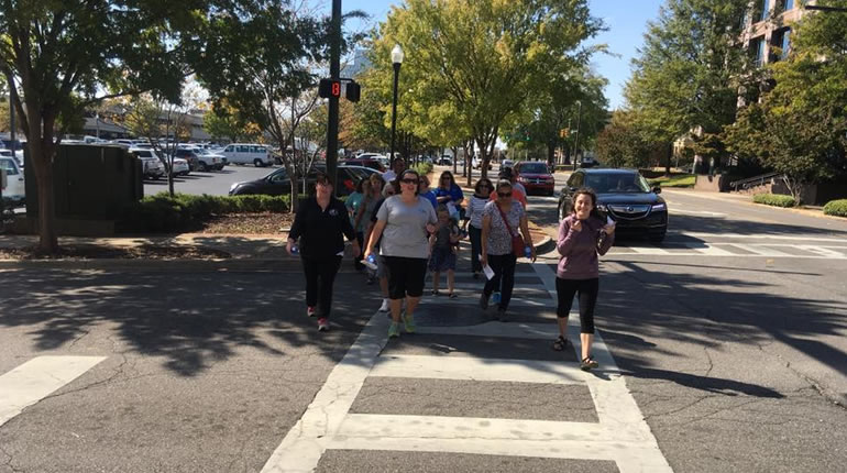 A small but enthusiastic group joined the Healthy Huntsville walk around downtown Huntsville on Thursday, Oct. 27. (Photo: Denise Vickers/WHNT News 19)