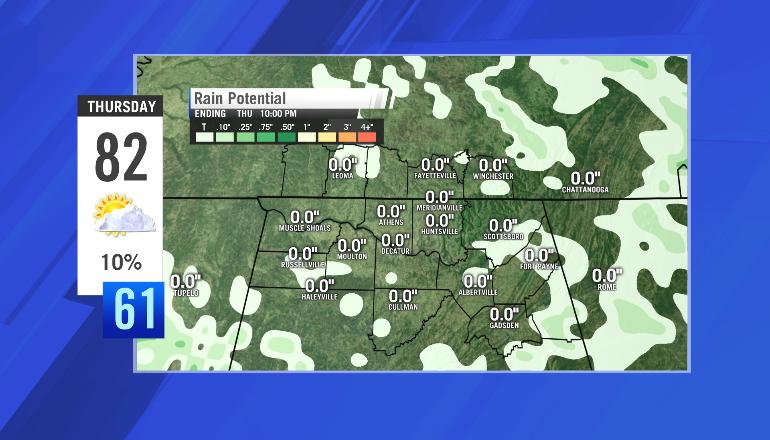 Thursday's rainfall potential (produced Tuesday evening)