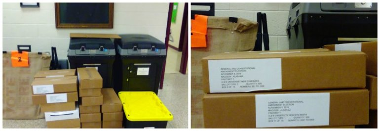 A concerned voter sent us these pictures of ballot boxes left unattended at Elmore Gym at Alabama A&M University on Nov. 7.