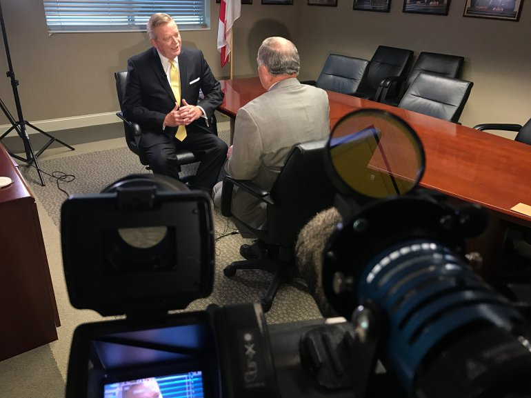 Dr. Dee Fowler speaks with WHNT News 19 anchor Jerry Hayes about his resignation as Madison City Schools Superintendent. (Shane Hays/WHNT News 19)