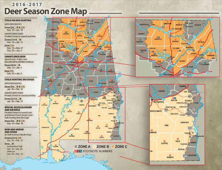 Deer Regulations map (map courtesy: http://www.eregulations.com