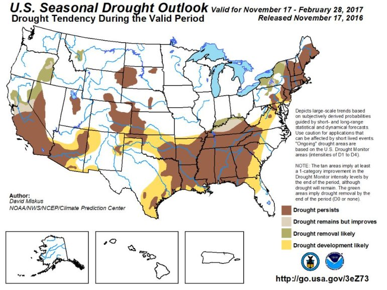 Current US Drought Outlook (Image: Climate Prediction Center)