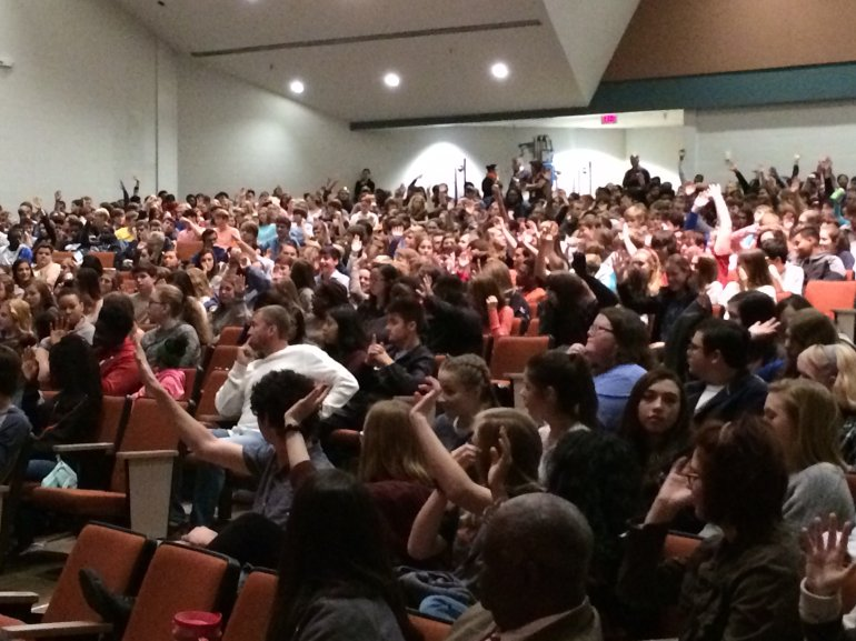Many Grissom High School students raised their hands when the speaker asked if their parents drive distracted. (Photo: Melissa Riopka/WHNT News 19)