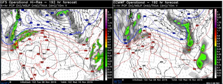Forecast models running on November 8 are trending towards drier weather for November 16.