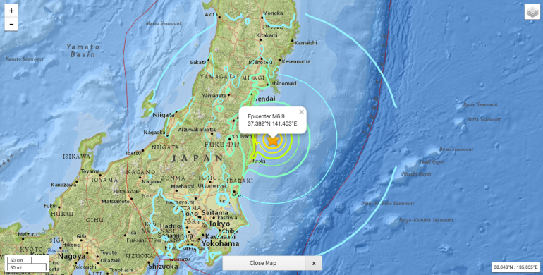 Magnetude 6.9 earthquake has struck off the coast of the Fukushima Prefecture (Image: United State Geological Service)