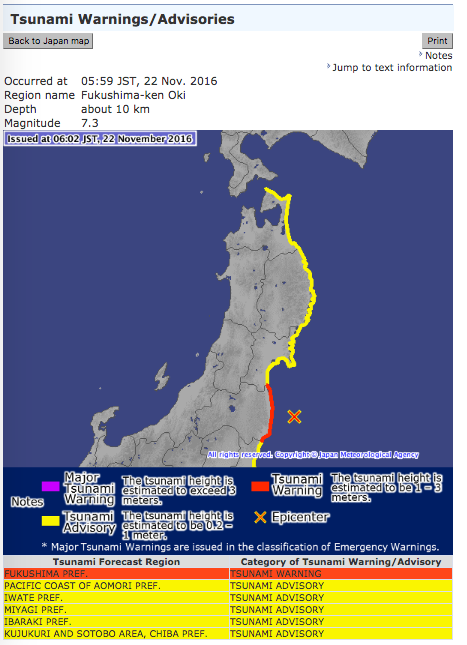 Tsunami warnings/advisories as issued by the Japan Meteorological Society
