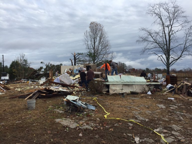 A tornado hit this home on Underwood Mountain Road in Colbert County, Alabama. Three people were inside, and were injured. (Photo: Carter Watkins/WHNT News 19)