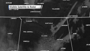 Visible satellite image shows the dense fog lingering along the Tennessee River in Jackson County and near Lake Guntersville in Marshall County (Image: WHNT News 19)