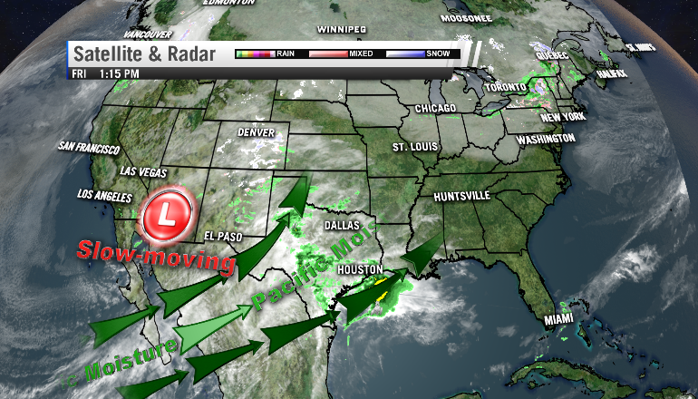 A cutoff low over the Southwest will help increase our chance of rain this weekend (Image: WHNT News 19)