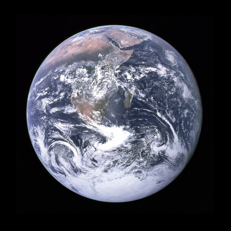 "The Apollo 17 crew took this iconic photograph of Earth. It became known as ""The Blue Marble."" (Credit: NASA)"