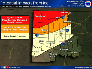 Icy weather Friday into the weekend could cause power line and tree damage, along with travel problems in some areas. (Image: NWS Norman)