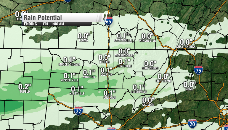 Potential rain amounts through 1 a.m. Friday (Image: WHNT News 19)