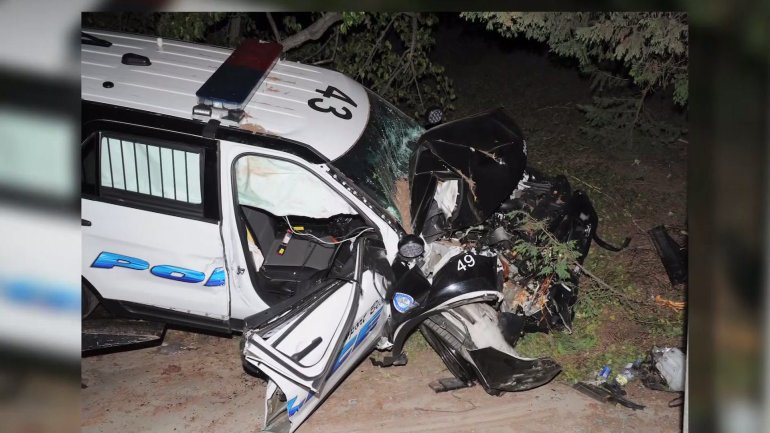 A photo of Officer McDowell's vehicle after his wreck.