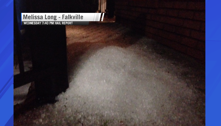 Melissa Long of Falkville, Alabama. Hail report after storm rumbled through Wednesday.