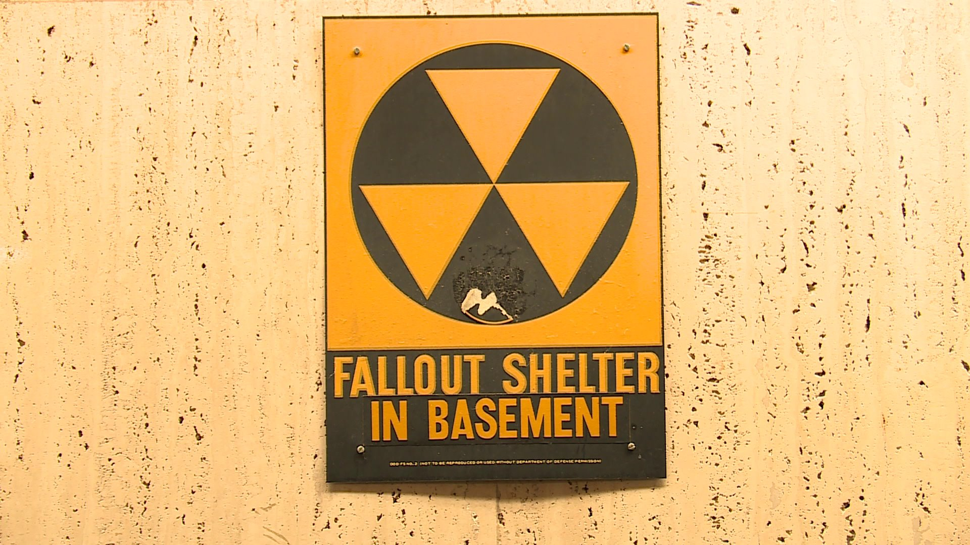 This fallout sign is still posted inside the Madison County Courthouse.