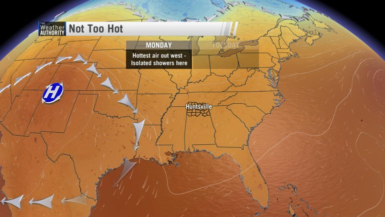 Ridge too far west for very hot air for Tennessee Valley