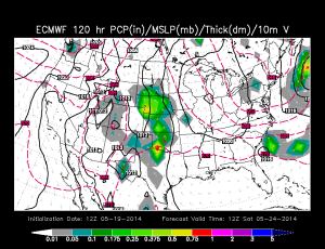 Euro Weather Map 8 AM Sat 5-24-2014