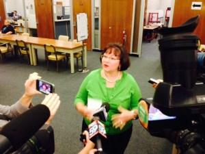 Clerk Beth White speaks after SCOTUS announcement