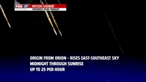 Orionid meteor showers peaks early Tuesday AM