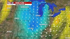 Wind shift 7 to 8 PM Monday night