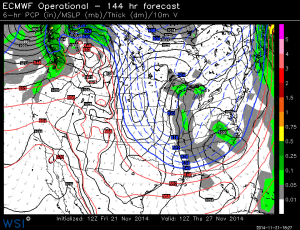 Euro model out to Thanksgiving still carries light snow possible