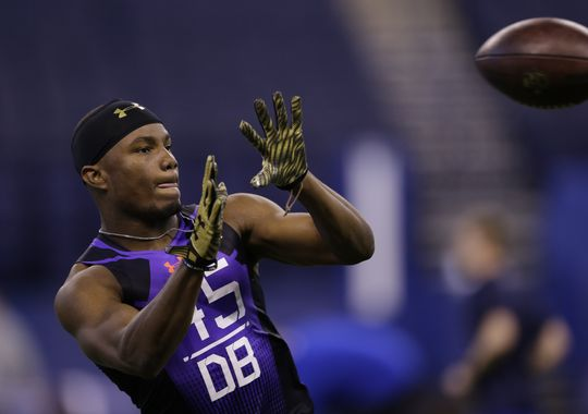 Florida Atlantic defensive back D'Joun Smith runs a drill at the NFL football scouting combine in Indianapolis, Monday, Feb. 23, 2015. He was selected by the Colts with the 65th overall pick in the NFL Draft. (Photo: Julio Cortez / Associated Press)