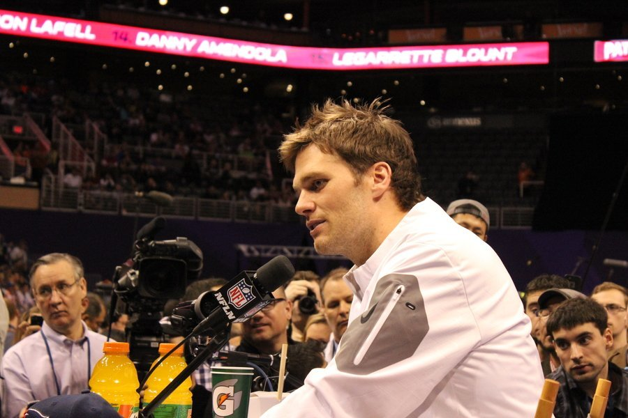 New England Patriots quarterback Tom Brady speaks at Super Bowl XLIX Media Day on Jan. 27, 2015.