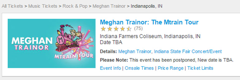 """Ticketmaster currently lists the concert date as """"TBA"""""""
