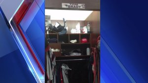 A red Donald Trump hat can be seen in Brady's locker.