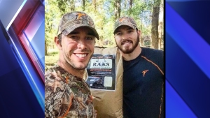 """Country singer Craig Strickland, 29 (left), is missing after an Oklahoma duck hunting trip. His friend Chase Morland, 22 (right), has been found dead at Kaw Lake. """"In case we don't come back, @BackroadCRAIG and I are going right through Winter Storm Goliath to kill ducks in Oklahoma. #IntoTheStorm,"""" Morland tweeted late Saturday."""