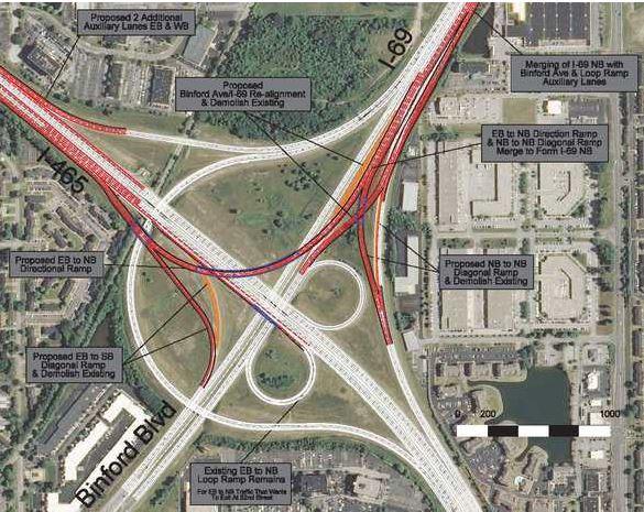 aerial shot of I-69/I-465 interchange