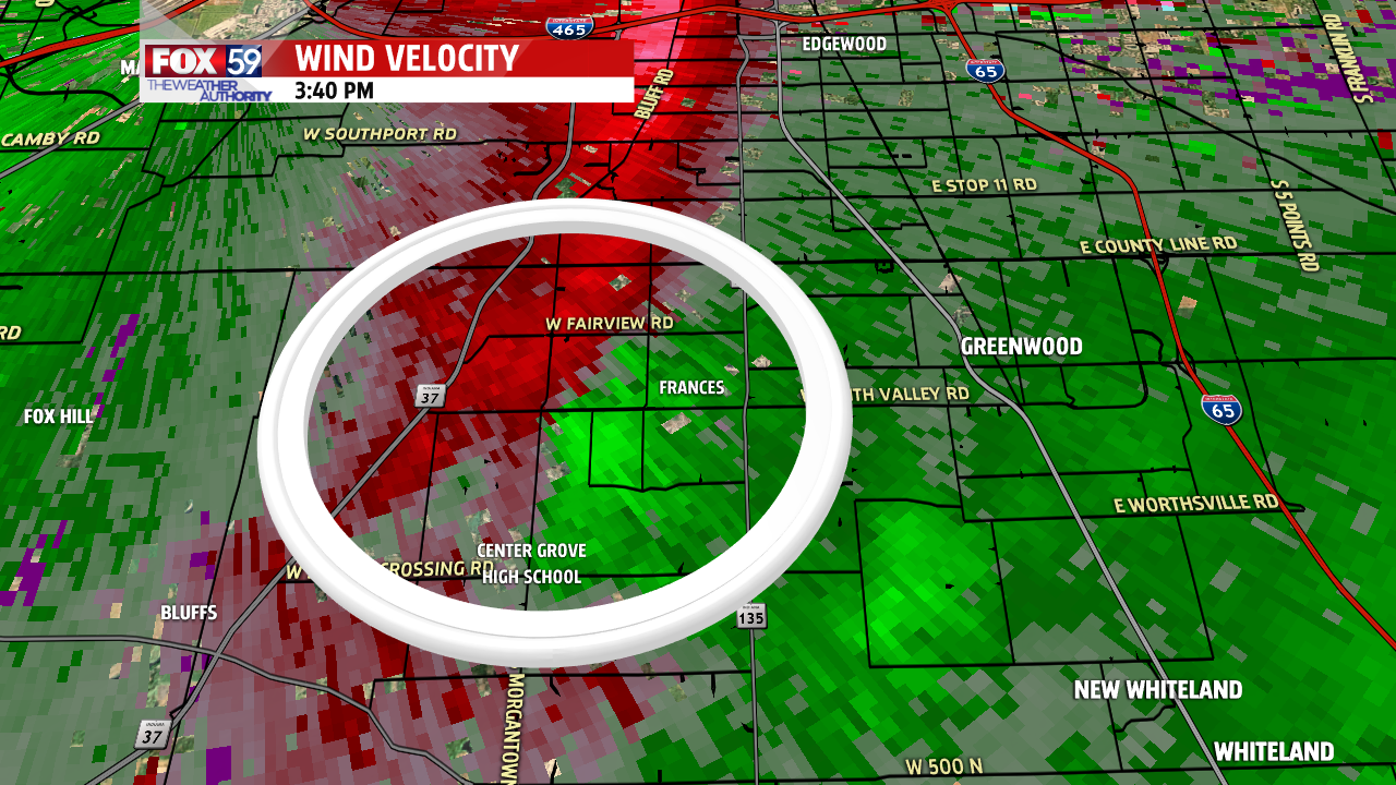 Rotation from radar on December 23rd. EF 1 tornado touched down in Greenwood