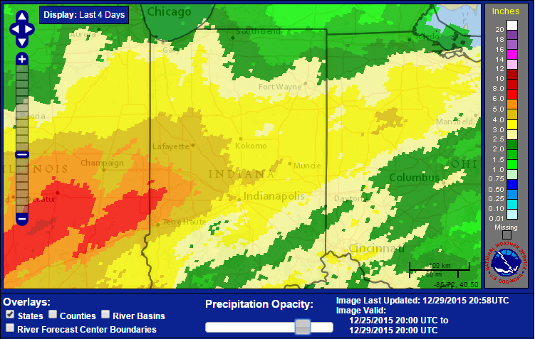 Storm total rainfall Dec 26 to 28th