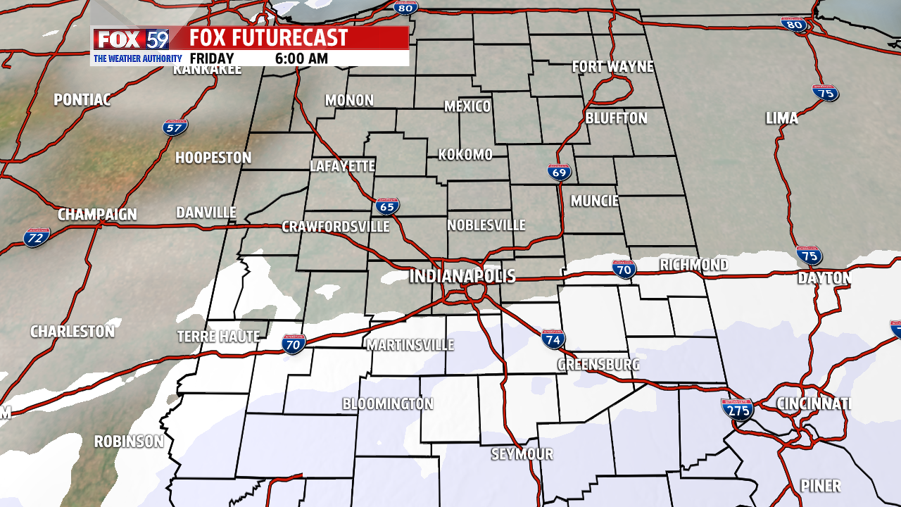 Light snow and flurries could creep into central Indiana Friday morning