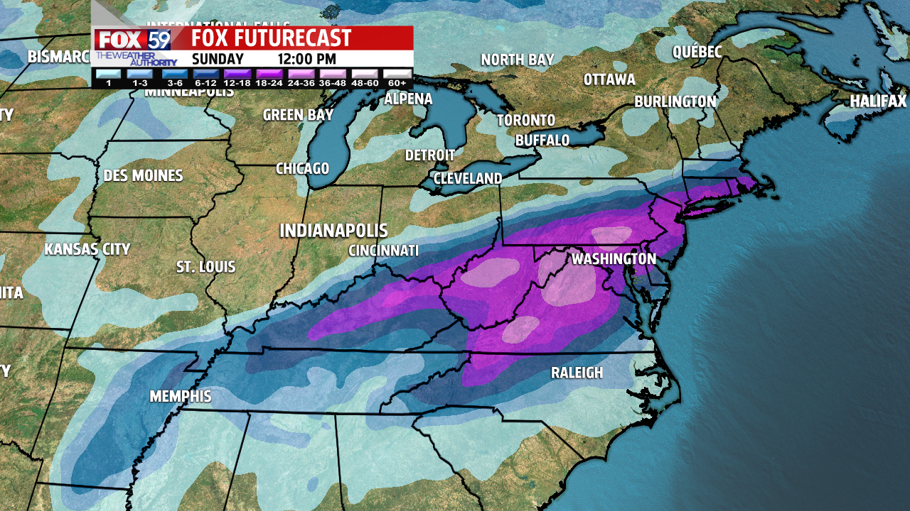 heavy totals (in feet) are possible out east.