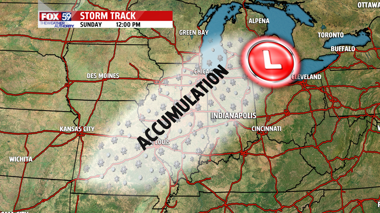 forecast of axis of heavy snow is from central IL to west/northwest IN Friday evening