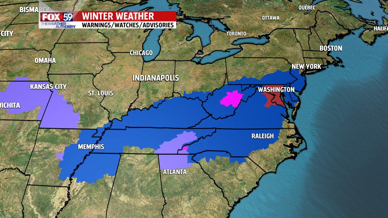 Winter storm watches and warnings issued ahead of storm. Blizzard Watch for Washington D.C.
